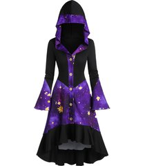 galaxy print flare sleeve hooded high low coat