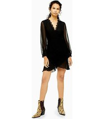 black pleated ruffle mini dress - black