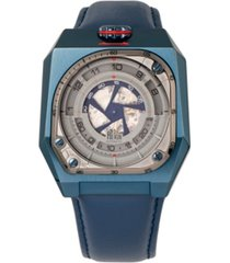 reign asher automatic genuine blue case, blue leather watch 47mm