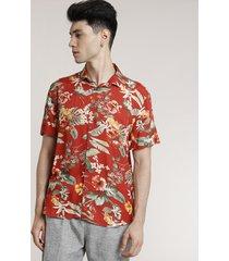 camisa masculina tradicional estampada floral manga curta vermelho