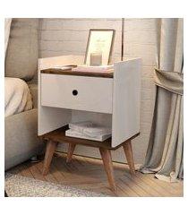 kit com 2 mesa de cabeceira retrô decore 1 gaveta - off white com freijo - rpm móveis