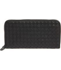 women's bottega veneta intreccio zip around wallet -
