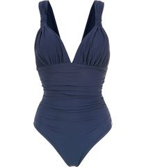 brigitte 'eli' draped swimsuit - blue
