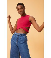 regata amaro cropped cut out pink - rosa - feminino - dafiti