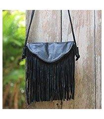 leather shoulder bag, 'night rain' (indonesia)