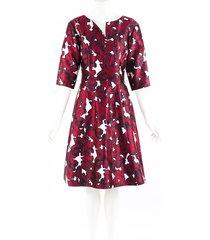 oscar de la renta red floral print silk dress red/white/floral print sz: s