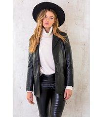 oversized leather blazer black