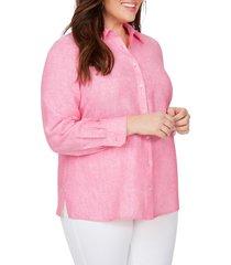 plus size women's foxcroft jordan non-iron linen chambray shirt, size 16w - pink