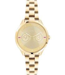 furla women's metropolis gold dial stainless steel watch
