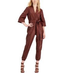 inc international concepts faux-leather surplice jumpsuit, created for macy's