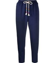 mira mikati beaded cord track pants - blue