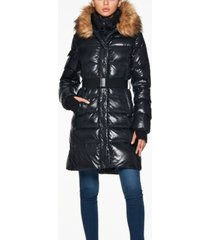 s13 chalet belted faux-fur-trim hooded down coat