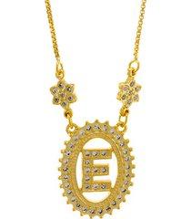 colar horus import letra e zircônias dourado