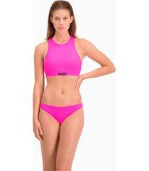 puma swim klassiek bikinibroekje voor dames, roze, maat xl