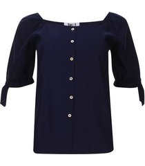 blusa con recogido unicolor color azul, talla 6