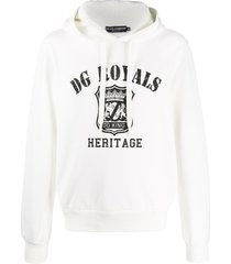 dolce & gabbana dg royals print hoodie - white