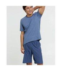 pijama mr listrado manga curta masculino