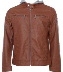 jaqueta red nose resinada caramelo/cinza