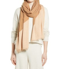 nordstrom colorblock wool & cashmere scarf in beige combo at nordstrom