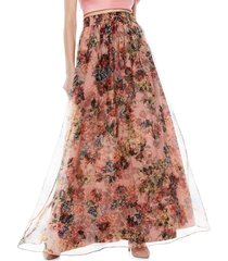 alice + olivia women's dixie floral tulle silk maxi skirt - rose - size 6