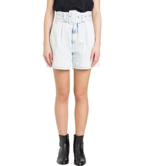 msgm high rise belted denim shorts