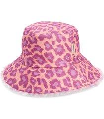 zimmermann reversible linen bucket hat in purple leopard pule at nordstrom