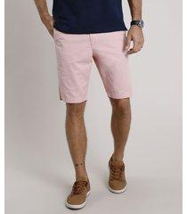 bermuda de sarja masculina reta alfaiatada rosa