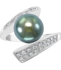 effy cultured black tahitian pearl (10mm) & diamond (1/4 ct. t.w.) statement ring in 14k white gold