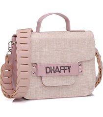 bolsa dhaffy palha alça trabalhada rosa