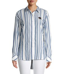 karl lagerfeld paris women's striped shirt - white blue - size xl