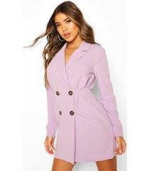 double breasted pleated waist blazer dress, lilac