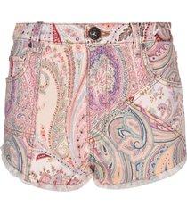 etro paisley denim shorts