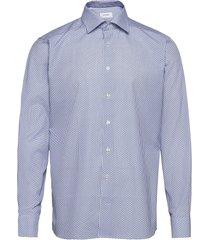 floral micro print poplin shirt overhemd casual blauw eton