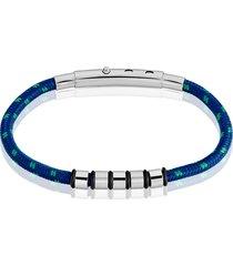 bracciale blu e verde in corda e acciaio per uomo