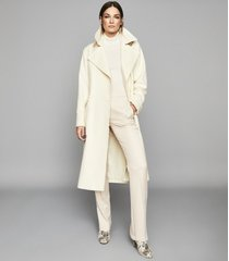 reiss everley - wool blend belted trench coat in ivory, womens, size 10