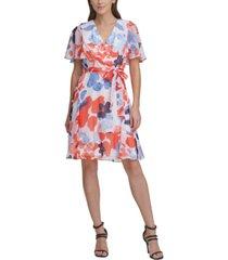 dkny flutter-sleeve v-neck dress