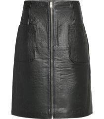 slfsvea hw leather skirt w knälång kjol svart selected femme