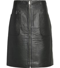 slfsvea hw leather skirt w knälång kjol svart selected femme