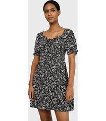 vestido missguided milkmaid tie bust mini dress ss floral negro - calce regular