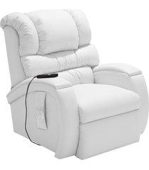 poltrona do papai reclinável elétrica com controle sala de estar oasis couro branco - gran belo