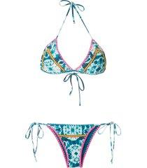 brigitte tie dye knit details bikini set - blue