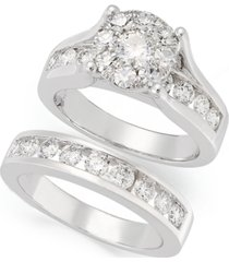diamond engagement ring and wedding band bridal set in 14k white gold (2 ct. t.w.)
