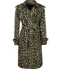 marc jacobs animal print double-breasted long coat