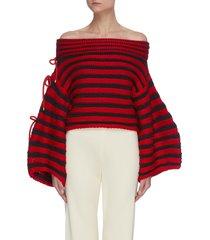 'renata' contrast stripe off shoulder balloon sleeve knit sweater