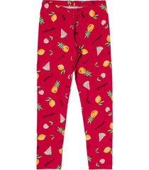 legging livy verã£o cotton estampado frutas vermelho - vermelho - menina - dafiti