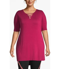 lane bryant women's livi strappy-neck tunic with pockets 18/20 beet red