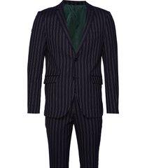 striped suit kostym blå lindbergh