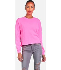 travis le neon pink crop pullover - neon pink l