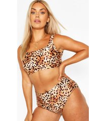 plus cheetah printed high waist bikini, brown