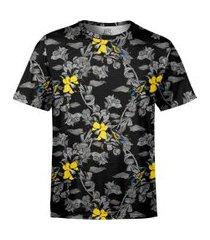 camiseta masculina jardim com pássaros estampa digital